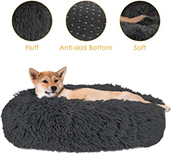 SlowTon Pet Calming Bed, Donut Cuddler Nest Warm Soft Plush Dog Cat Cushion with Cozy Sponge Non-Slip Bottom for Small Medium Pets Snooze Sleeping Autumn Indoor, Machine Washable 15.7in/19.7in/23.6in (M(Dia-60cm), Dark Grey)