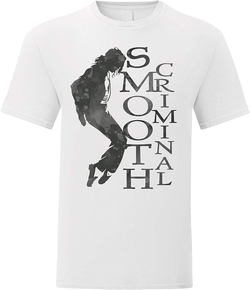 LaMAGLIERIA Camiseta Hombre Michael Jackson - Smooth Criminal - Monocolor T-Shirt Rock 100% algodòn, S, Blanco: Amazon.es: Ropa y accesorios
