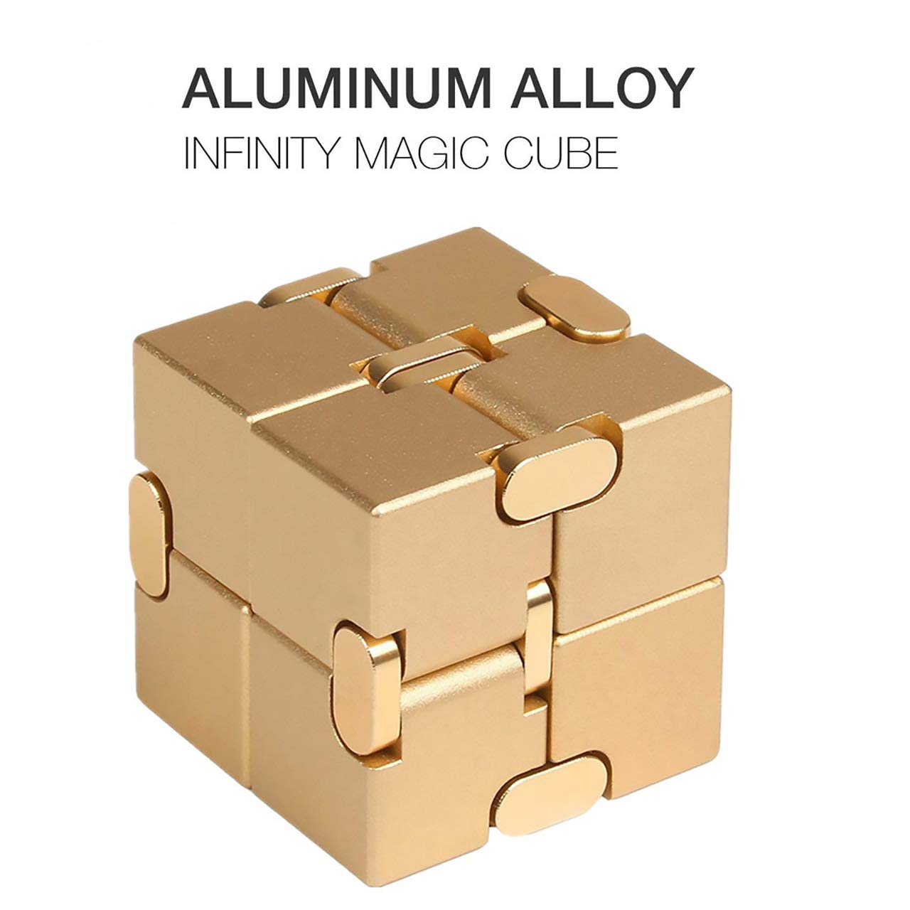 Metal Infinity Cube, Solid Aluminum Alloy Material,Stress Relief Toy Games Square Cube,Infinity Cube Prime for Stress and Anxiety Relief/ADHD, Ultra Durable (Metallic)