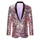 PYJTRL Men's Pink Gold Flower Pattern Wedding Groom Singer Sequins Suit Jacket (Pink, Tag 4XL (US XXL) Chest 48'')