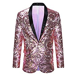 Men's Pink Gold Flower Pattern Sequins Jacket