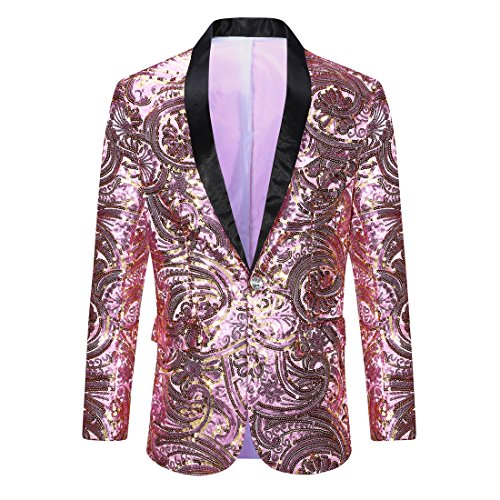 Pink Tuxedo - PYJTRL Men's Pink Gold Flower Pattern Wedding Groom Singer Sequins Suit Jacket (Pink, Tag XXL (US L) Chest 44