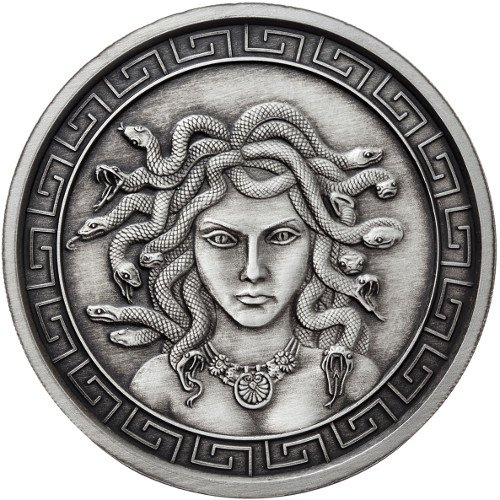 1 oz Antique Medusa Silver Round (New w/ - Obverse Proof Like
