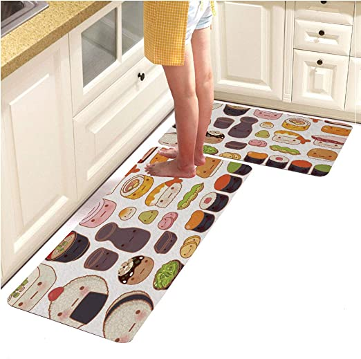 Non-Skid Home Bordered Rug Comfortable Standing and Entrance Rug 17 x 28 Floor Mat Black Kitchen