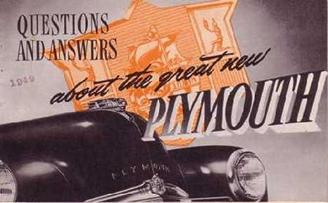 Amazon com: 1949 Plymouth Question Answer Sales Brochure Literature