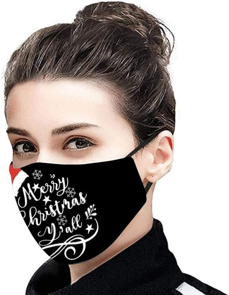 Adult Face Bandanas Christmas Cartoon Letter and Santa Print Mascara Dustproof Protection Anti-Pollen Washable Reusable Earloop Masque for Outdoor Activities Party 1pc US Shipping 7-15 Days