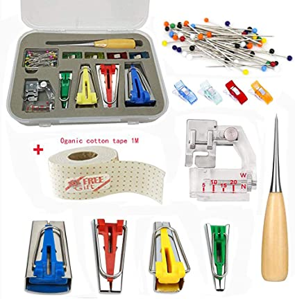 Sewing Clips Quilting Awl Ball Pins Fabric Bias Tape Maker Tool Sewing Quilting with Tape Binding Presser Foot 7 in 1