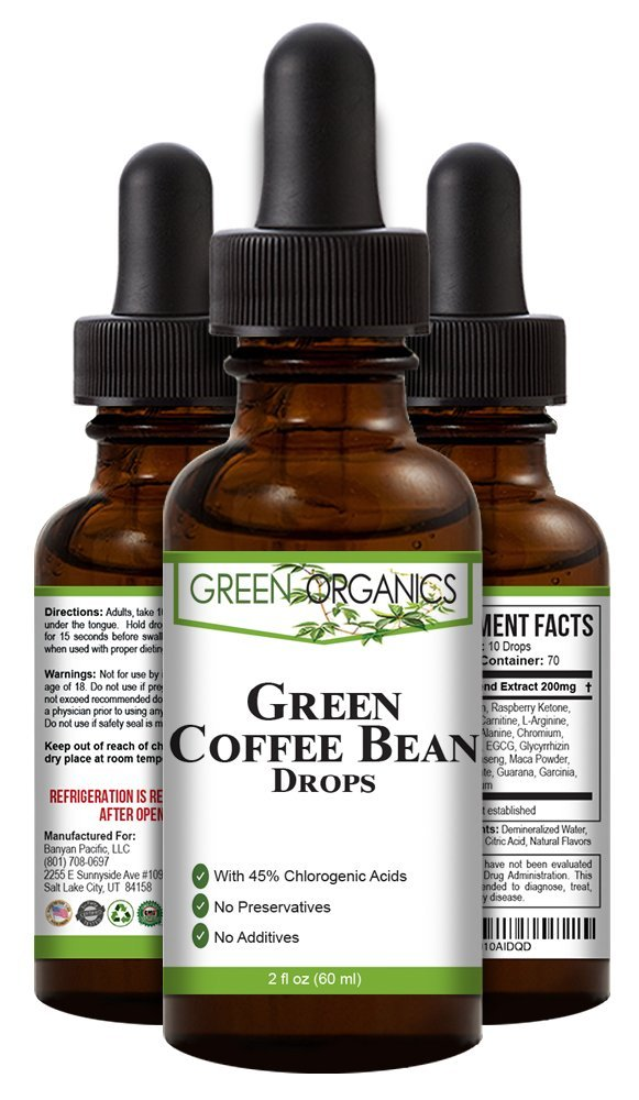 Green Organics Green Coffee Bean Liquid Extract Weight Loss Supplements | Suppresses Appetite | Boosts Metabolism | No Preservatives, No Additives | 100% Natural | 2 Fl Oz