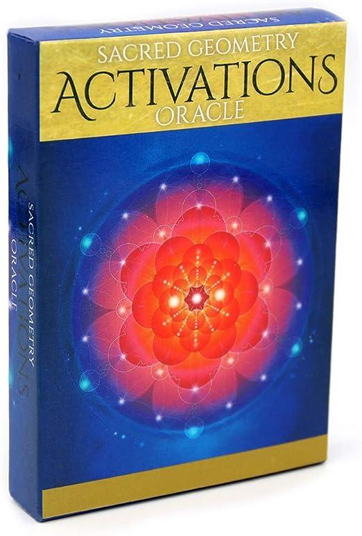 yuwei Juego de Mesa 44 Cartas del Tarot geometría Sagrada Activaciones Cubierta de Oracle Partido de la Familia: Amazon.es: Hogar