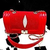 New 100% Genuine Chic Stingray Red Woman Shoulder Bag Handbag Tote Chain