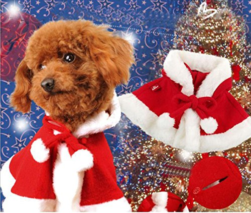 [Pet Dog Costumes Christmas Santa Cloak Costumes Puppy Shawl Hooded Cloak in Red] (Sailor Moon Cat Costume)