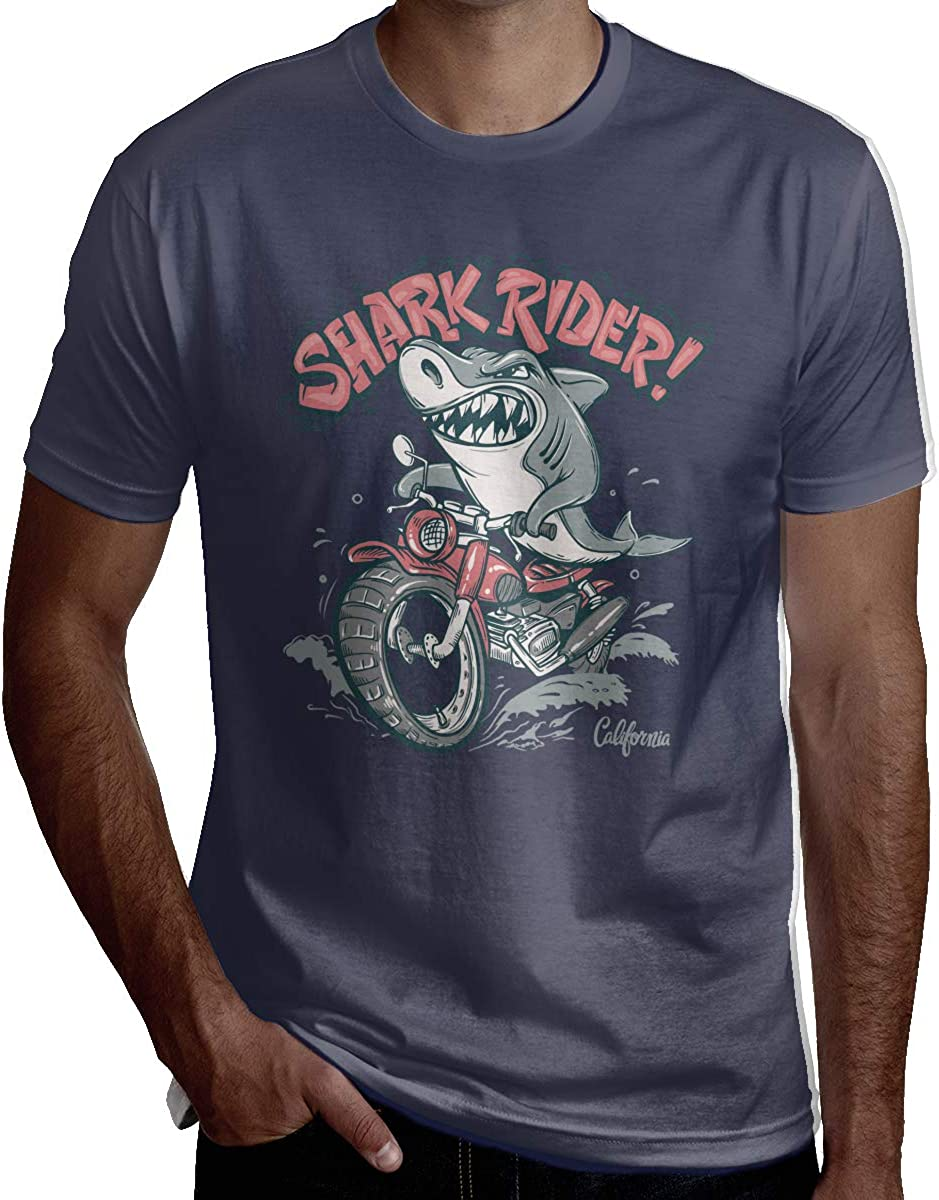 JEEZORN Man Casual Shark Rider On Motorcycle Short Sleeve Humor T Shirt Black
