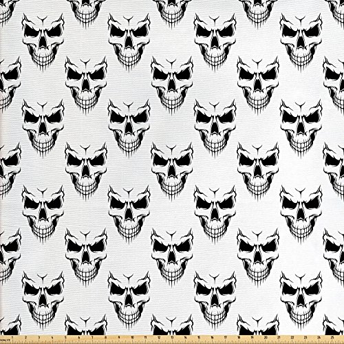 Fabric Halloween Skull Skeleton (Skull Fabric by the Yard by Lunarable, Halloween Themed Monochrome Skeleton Head with Aggressive Facial Expressions Pattern, Decorative Fabric for Upholstery and Home Accents, Black White)