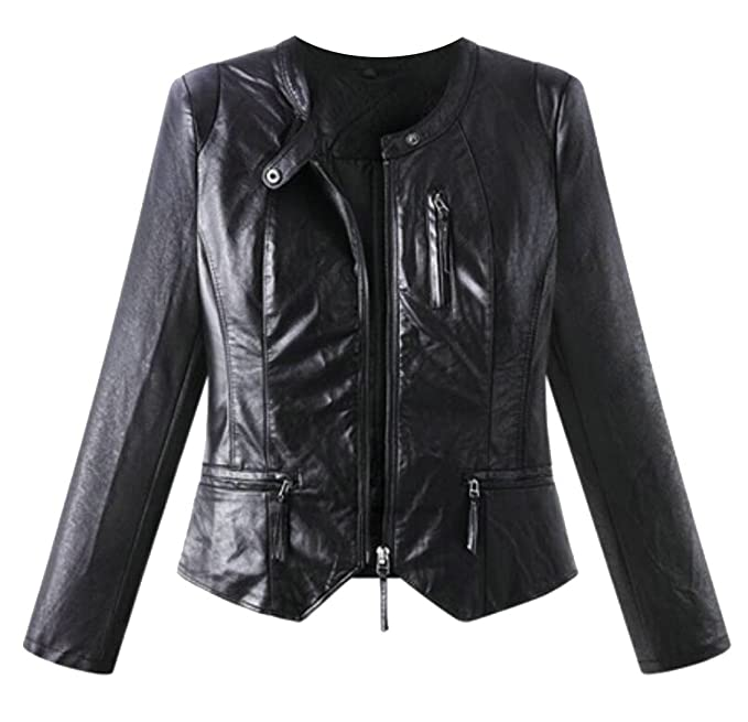 45288f4d80a GAGA Women s Faux Leather Collarless Full Zip Plus Size Motorcycles Jacket  at Amazon Women s Coats Shop