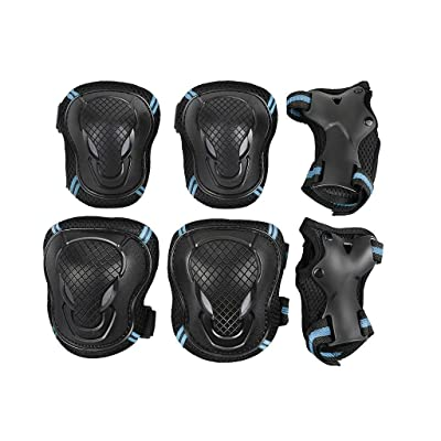 QCHOMEE Kids Adult Knee Pads Elbow Pads Elbow Pads Wrist Guards Protective Gear Set for Skateboard Biking Riding Cycling Sport Scooter Skates BMX Bicycle, for Kid Children Teenager Adult, 6PCS : Sports & Outdoors