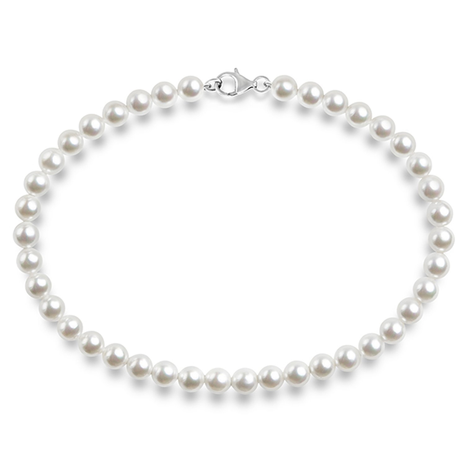 PAVOI Sterling Silver Round White Simulated Shell Pearl Necklace Strand NECKS166