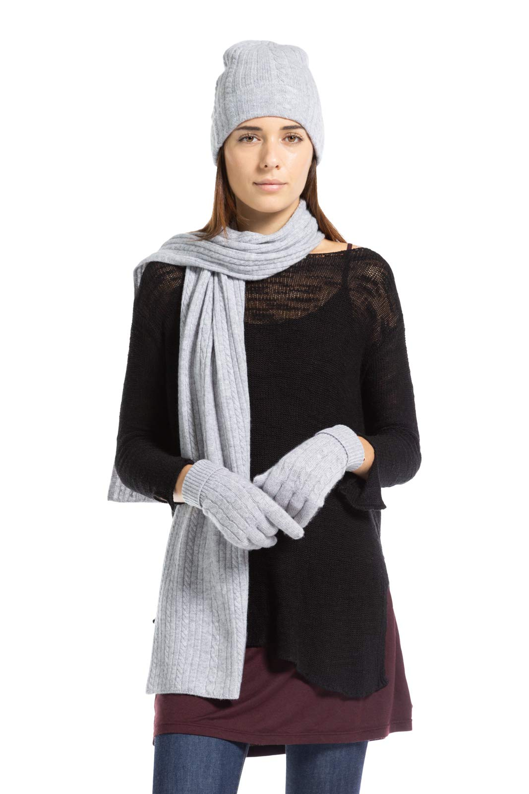 Fishers Finery Women's 100% Cashmere 3pc Cable Knit Gift Set (Heather Gray) by Fishers Finery