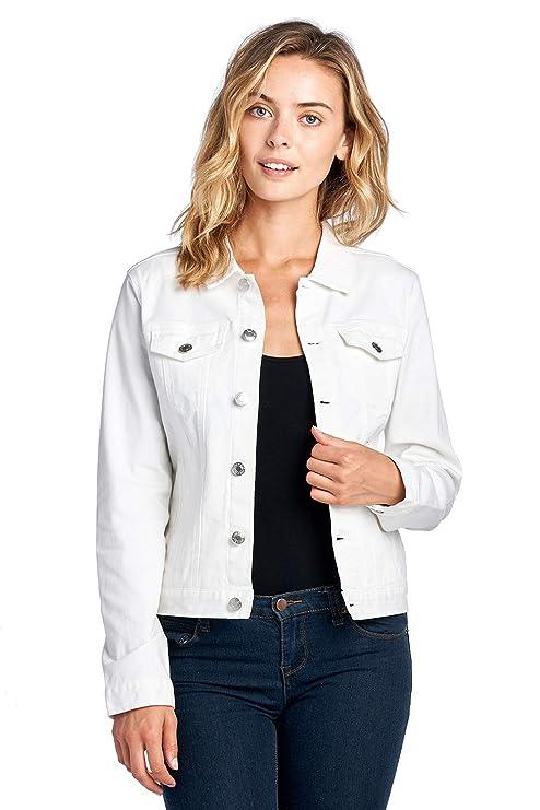 Blue Age Women's Colored Denim Jean Jacket Solid White (JK4017_WHT_M)