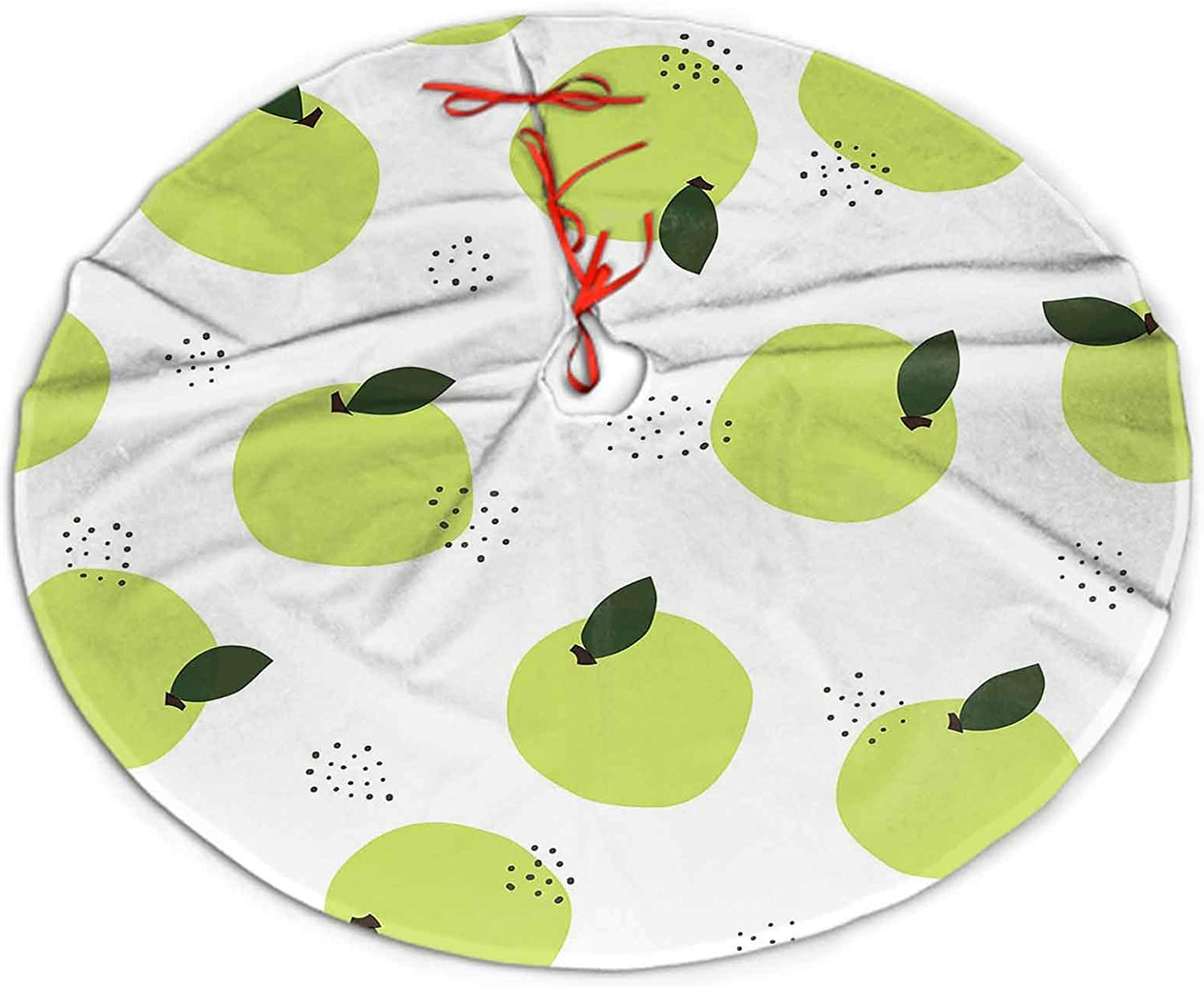 """SoSung Christmas Tree Skirt Green Apple Pattern Decorative with Green Christmas Decorations Indoor Outdoor 36"""""""