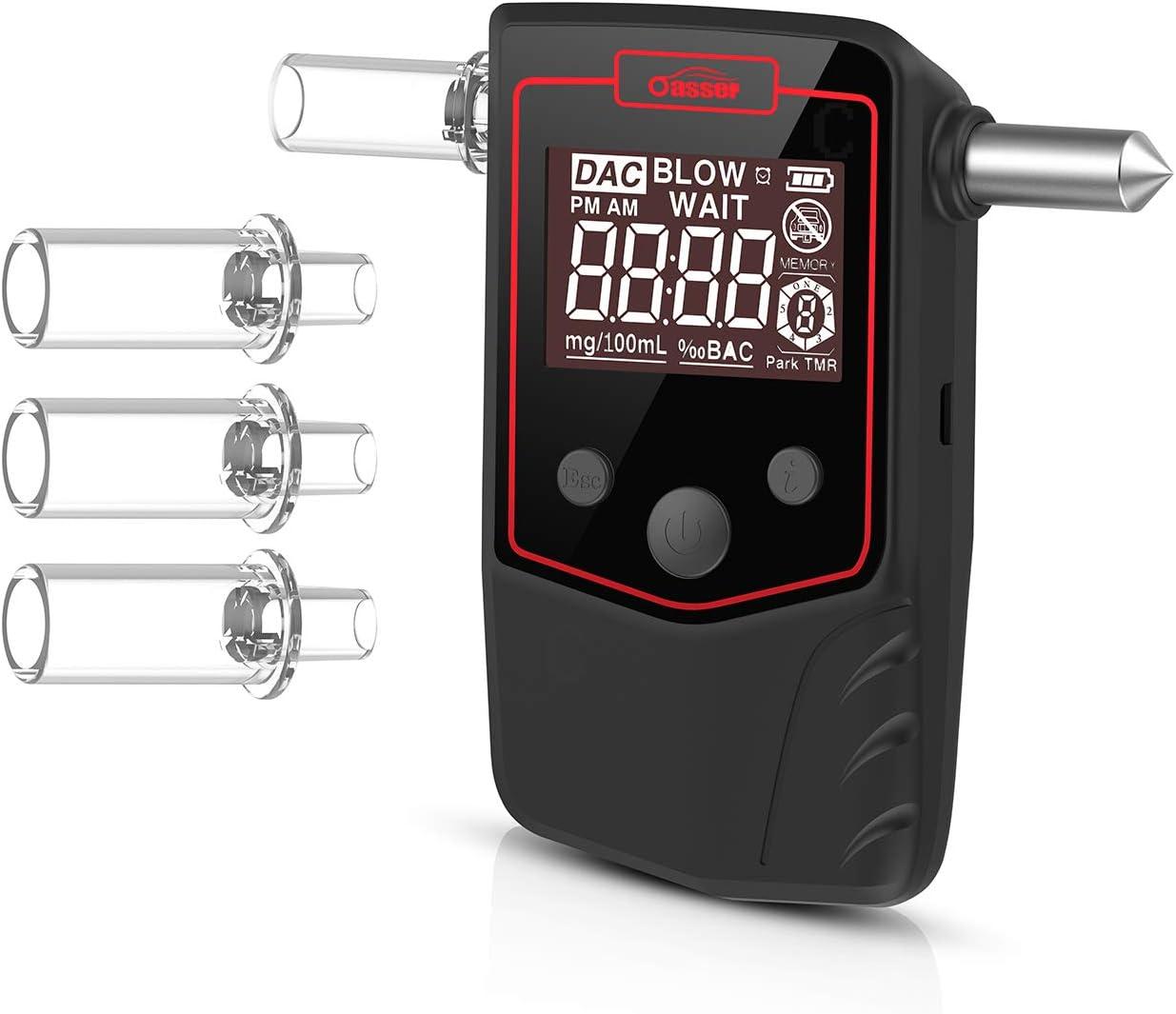 oasser Etilometro Portatile Alcool Tester Digitale T1Ricaricabile con 4 Boccagli Schermo LCD Sensore