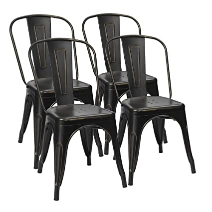 Bon Furmax Metal Dining Chairs Distressed Black Golden Indoor/Outdoor Use  Stackable Dining Bistro Cafe Side