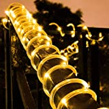 Solar Rope Light 33FT 100L IP65 Waterproof Outdoor String Tube Lights for Party Garden Yard Home Decoration (Warm White)
