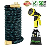 EASYHOSE Expandable Garden Hose - 50 foot-Extra Strength Stretch Material with Brass Connectors - Bonus 9 Way Spray Nozzle+Free Storage Bag+12 Months Manufacturers Warranty (50ft, Black+Blue)