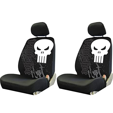 2 PIECE MARVEL PUNISHER BLACK LOW BACK SEAT COVERS NEW SET CARS TRUCKS VANS SUVS