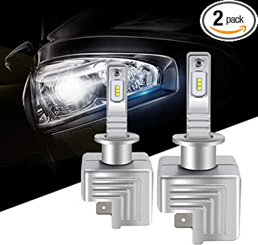 72W 12000 Lumens DUOLUTONG Mini H1 LED Headlight Bulbs 360 Degree Adjustable COB Chips All-in-One Conversion Kit Halogen Replacement 2 Packs 8000K Ice Blue Extremely Bright Fog Driving Lamps