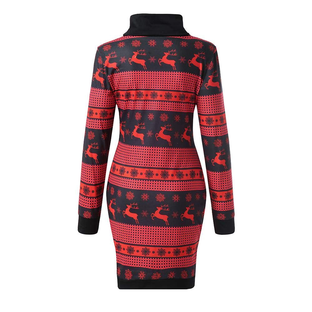 Redshop Women Christmas Cowl Neck Long Sleeve Printed Mini Party Dress