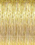 GiftExpress 1-pack Metallic Gold Tinsel Fringe Photo Backdrop Curtain Decoration for Party Photo Booth Backdrop and Wedding Bridal Birthday Decor