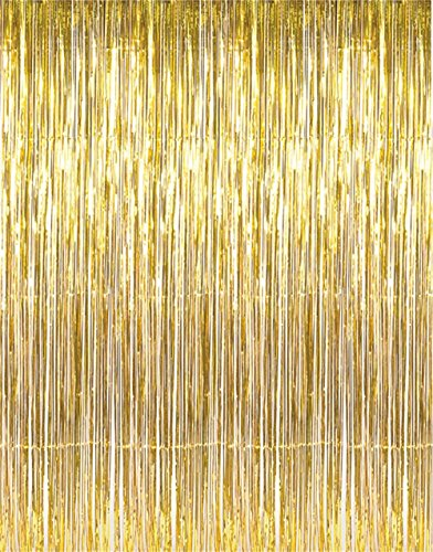 GiftExpress 1-pack Metallic Gold Tinsel Fringe Photo Backdrop Curtain Decoration for Party Photo Booth Backdrop and Wedding Bridal Birthday Decor -