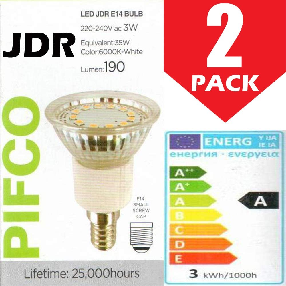 2 extractores de campana Pifco de 3 W (35 W) JDR, no regulables, casquillo de rosca E14, bombilla LED, 190 lúmenes, 6000 K, color blanco [Clase energética A]
