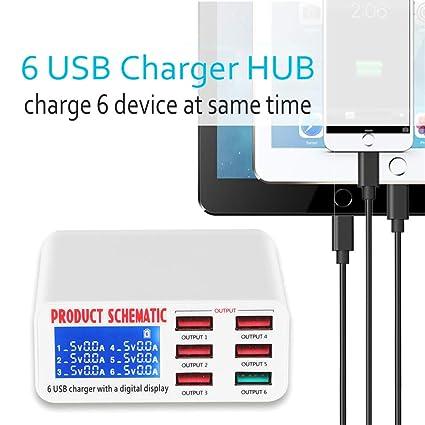 HOMECCLL Cargador USB portátil Cargador rápido 6 Puerto USB ...