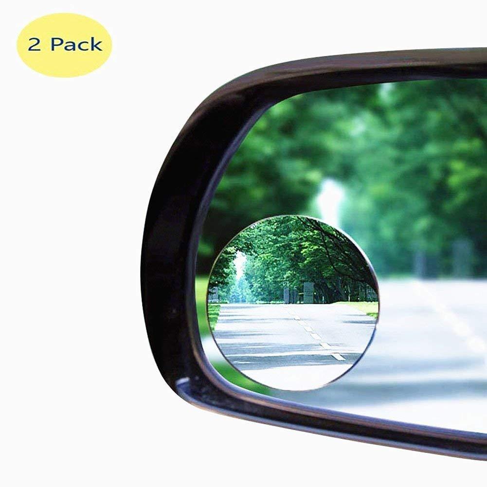 Wuudi Spiegel, rund, HD-Glas, konvexer Rückspiegel, Autozubehör, mit Weitwinkel, 360 ° drehbar, 30 ° verstellbar, zum Ankleben, 2 Stück