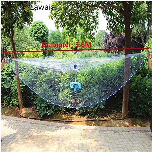 Lawaia Fishingnet with Lead Pendant Fishing Network Lead Cast Net with Ring American Style Cast Net Throwing Tool   Diameter 360cm