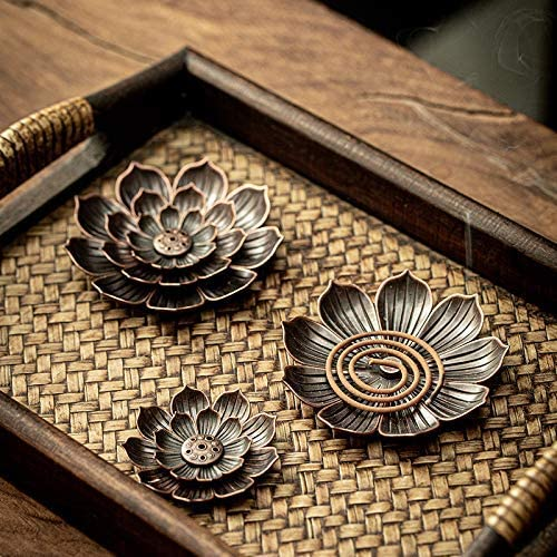 2Pack Brass Metal Lotus Incense Plate with Detachable Ash Catcher Incense Burner Lotus Incense Burner Stick Holder