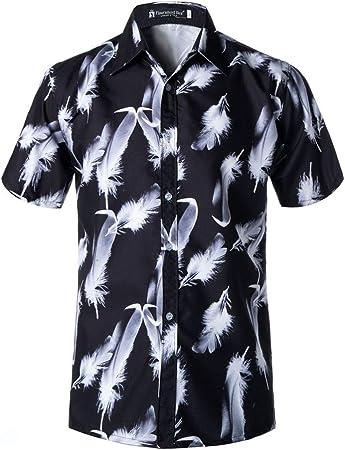 Allibuy Camisa de Vestir Casual de los Hombres Camisa Hawaiana de Manga Corta con Botones de Flores para Hombres (Color : Negro, tamaño : XXXL): Amazon.es: Hogar
