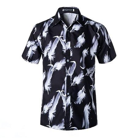 Allibuy Camisa de Vestir Casual de los Hombres Camisa Hawaiana de ...