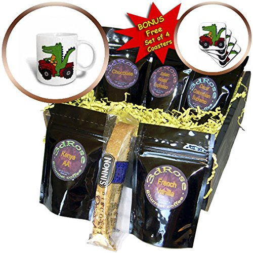 3dRose All Smiles Art Animals - Funny Cute Alligator Driving ATV Cartoon - Coffee Gift Baskets - Coffee Gift Basket (cgb_263851_1)