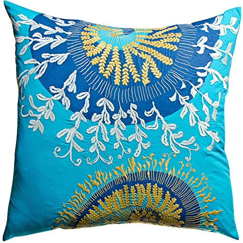 Koko Water Collection Prints and Embroidery Cotton Eurosham, 26-Inch by 26-Inch, (Koko Cotton Pillow)