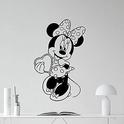 ad5f26baaa70 Amazon.com  Minnie Mouse Vinyl Wall Decal Girl Kids Cute Heart Love ...