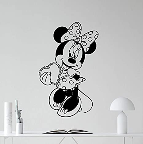 Amazon Com Minnie Mouse Vinyl Wall Decal Girl Kids Cute Heart Love