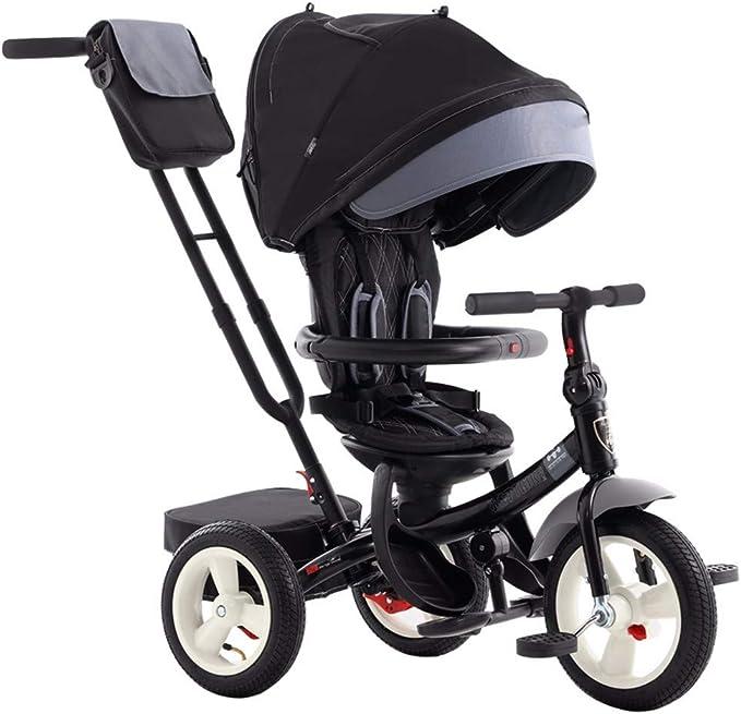 TRICYCLE Triciclo 4 en 1 Asiento Giratorio Respaldo reclinable Niños Trike Bicicleta de 3 Ruedas con manija de Empuje, Black: Amazon.es: Deportes y aire libre