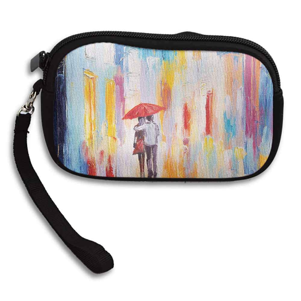 Urban Change Purse Wallets Silhouette of Valentines Couple on a Street Rainy Day Love Romance in Urban City W 5.9x L 3.7 Durable Custom Pattern Wallet