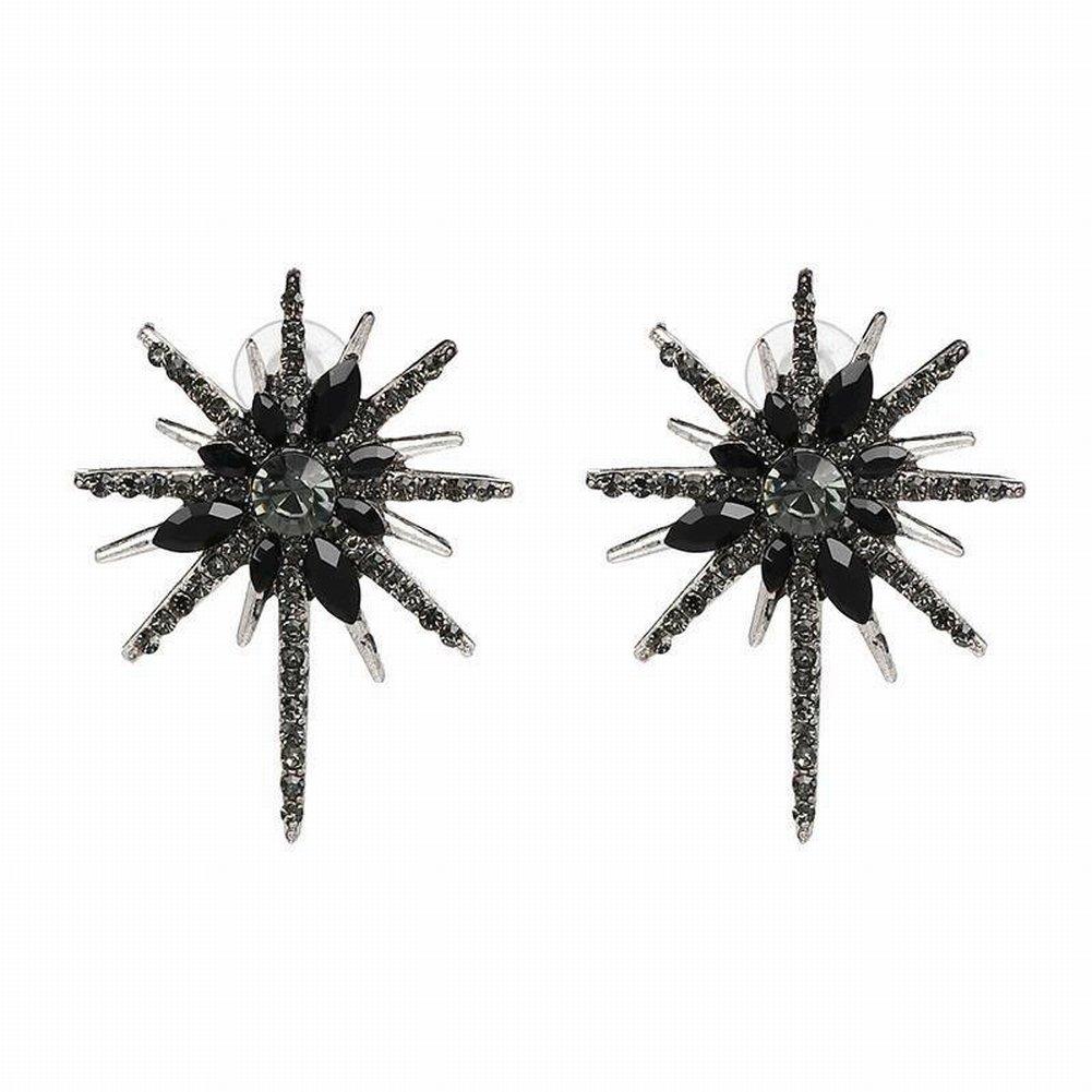 Katylen Columnas de Cristal de Metal Retro con Incrustaciones de Diamantes de Imitación Pendientes Exquisitos, Negro