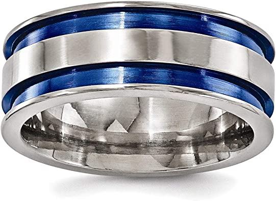Edward Mirell Titanium Grooved Blue Anodized 8mm Band
