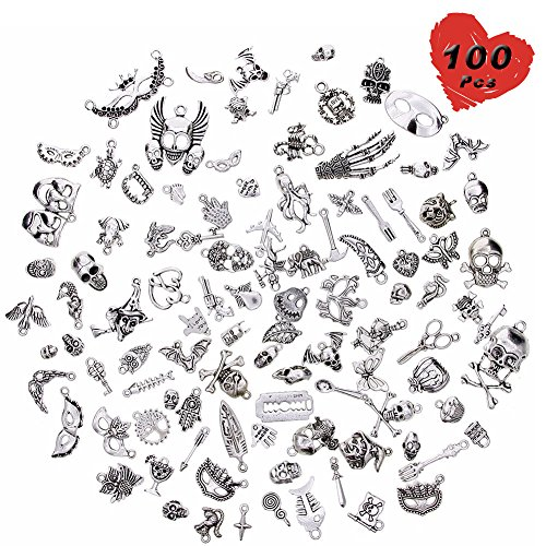 100 Pcs Wholesale Silver Charms Mixed Smooth Metal Charms Pendants Accessory, DIY for Jewelry Making and Crafting (Skull Style)