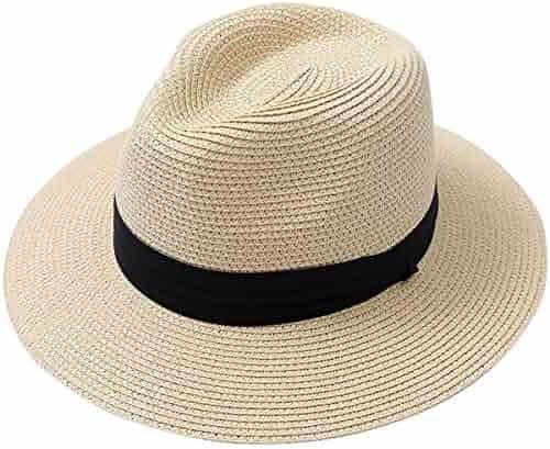 fd91e6445cc6e Lanzom Men Wide Brim Straw Foldable Roll up Hat Fedora Summer Beach Sun Hat  UPF50+