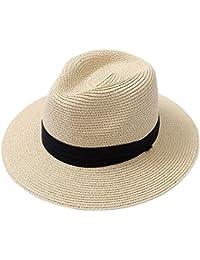 0f0d623dff237 Men Wide Brim Straw Foldable Roll up Hat Fedora Summer Beach Sun Hat UPF50+